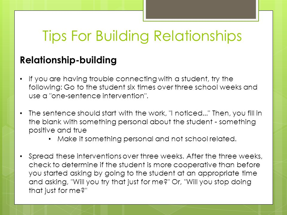 Tips For Building Relationships