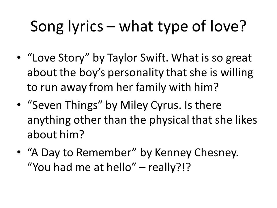 Song lyrics – what type of love