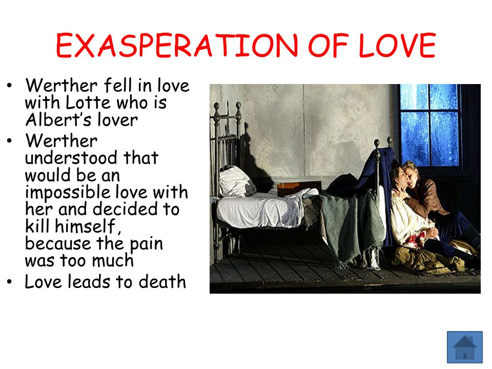 EXASPERATION OF LOVE Werther fell in love with Lotte who is Albert's lover.