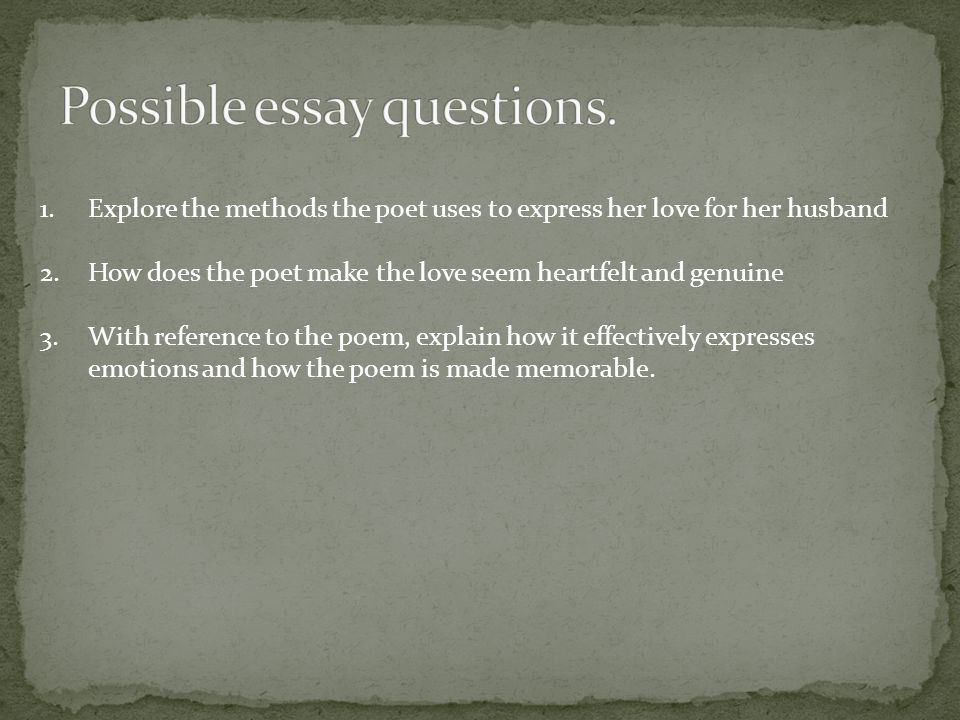 Possible essay questions.
