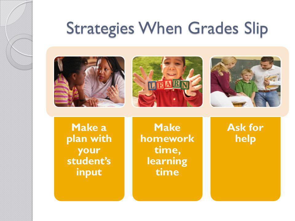 Strategies When Grades Slip