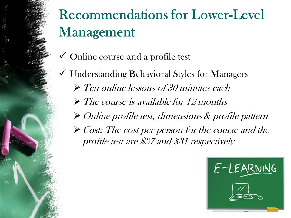 Recommendations for Lower-Level Management
