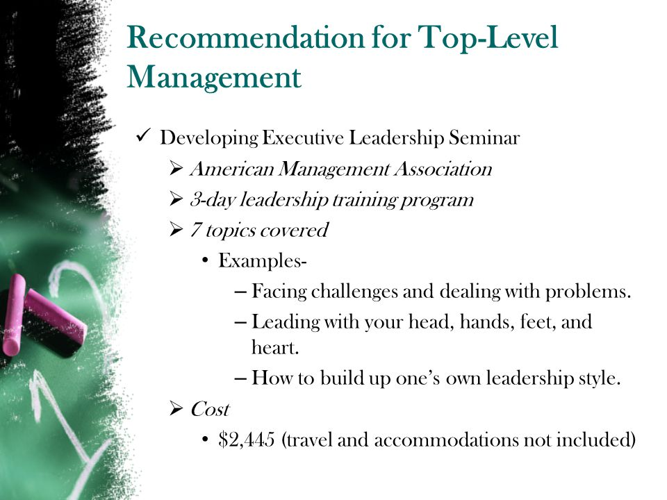 Recommendation for Top-Level Management