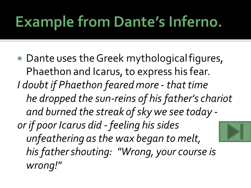 Example from Dante's Inferno.