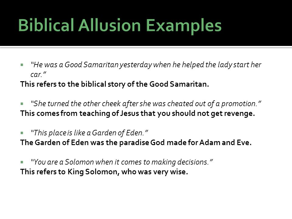 Biblical Allusion Examples