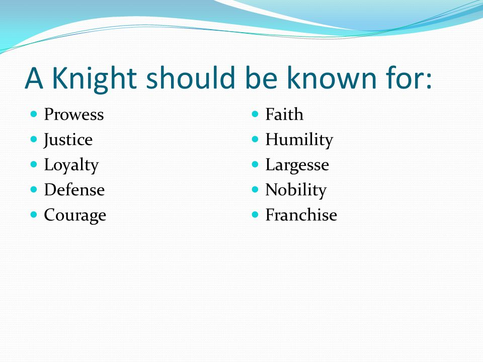 A Knight should be known for: