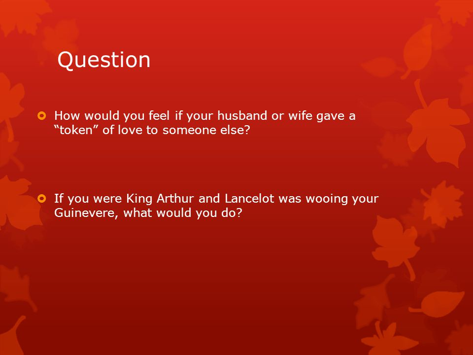 Question How would you feel if your husband or wife gave a token of love to someone else