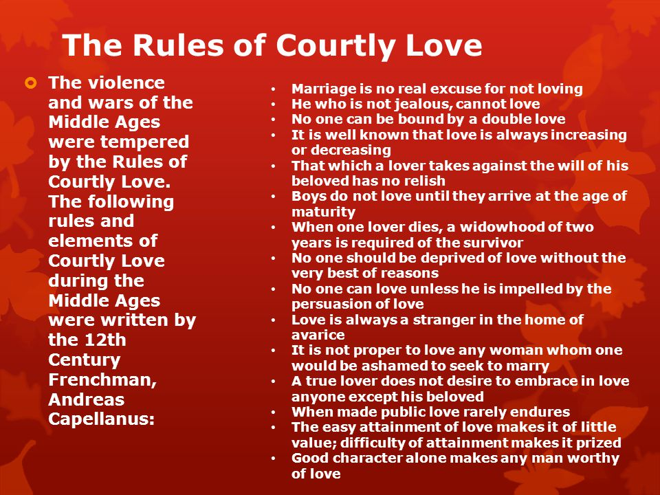 The Rules of Courtly Love