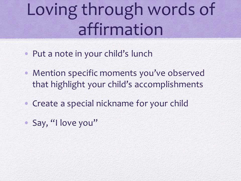 Loving through words of affirmation