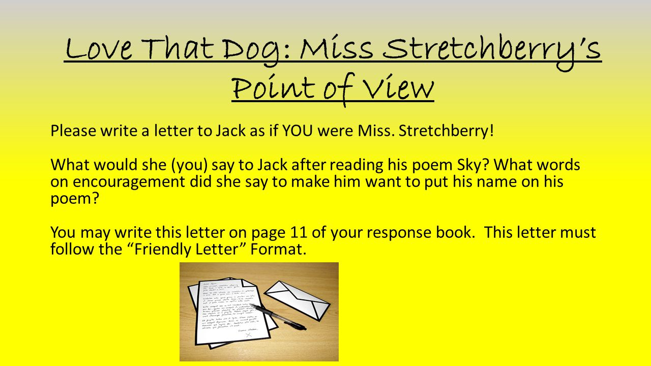 Love That Dog: Miss Stretchberry's Point of View