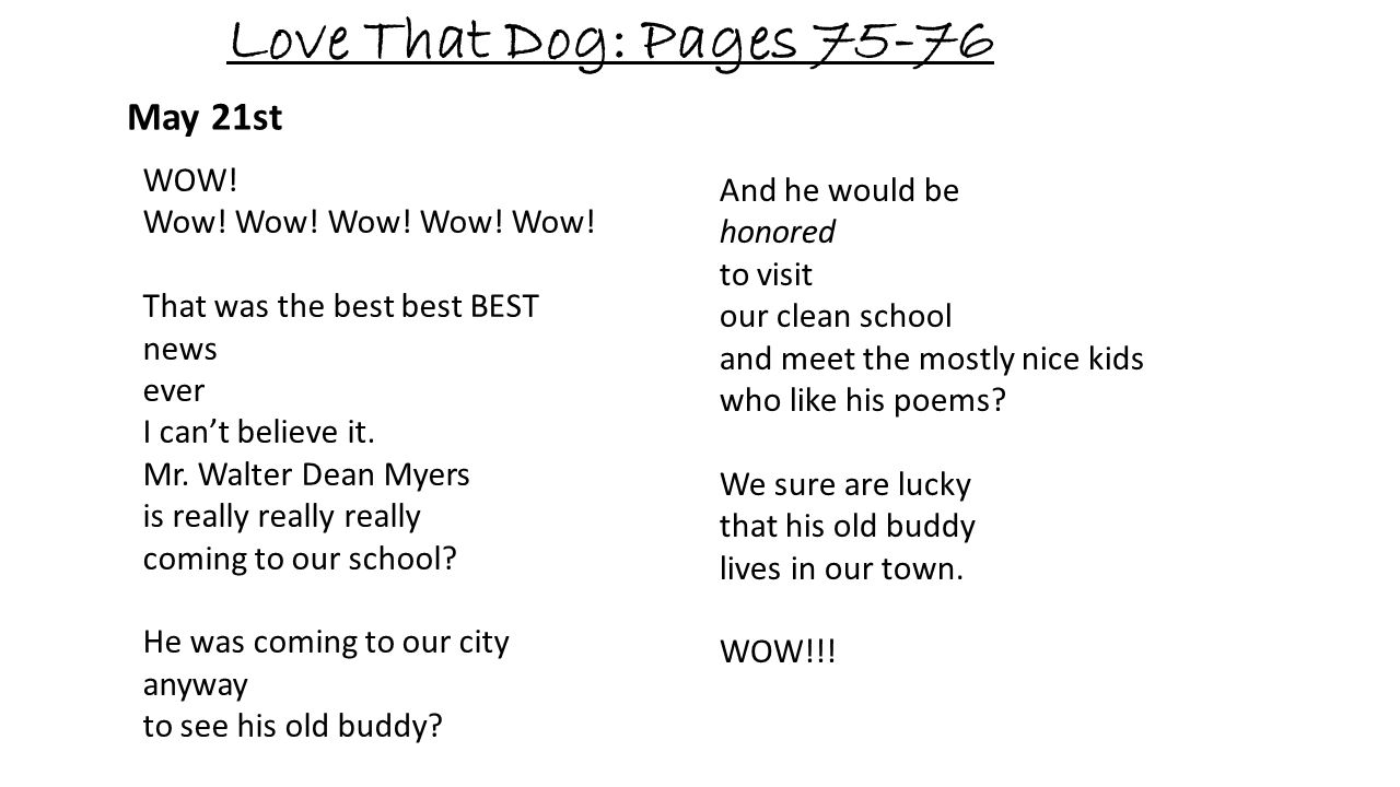 Love That Dog: Pages 75-76 May 21st