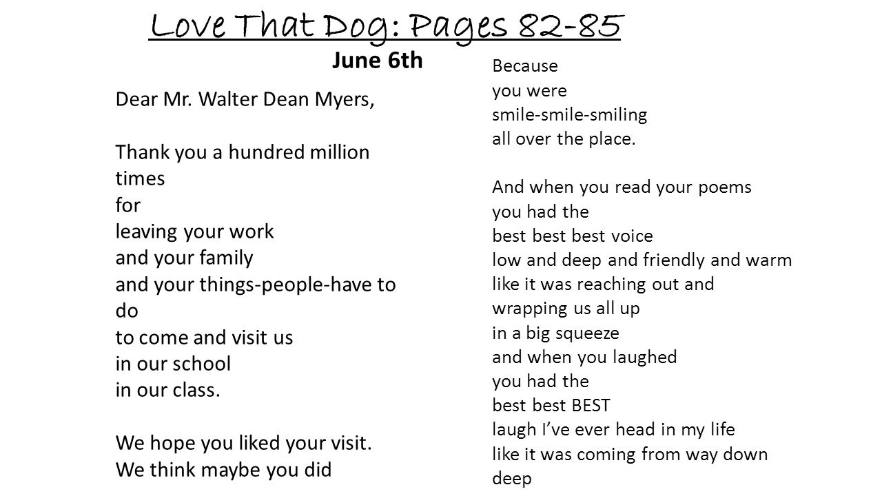 Love That Dog: Pages 82-85 June 6th