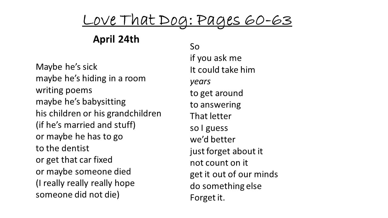 Love That Dog: Pages 60-63 April 24th So if you ask me