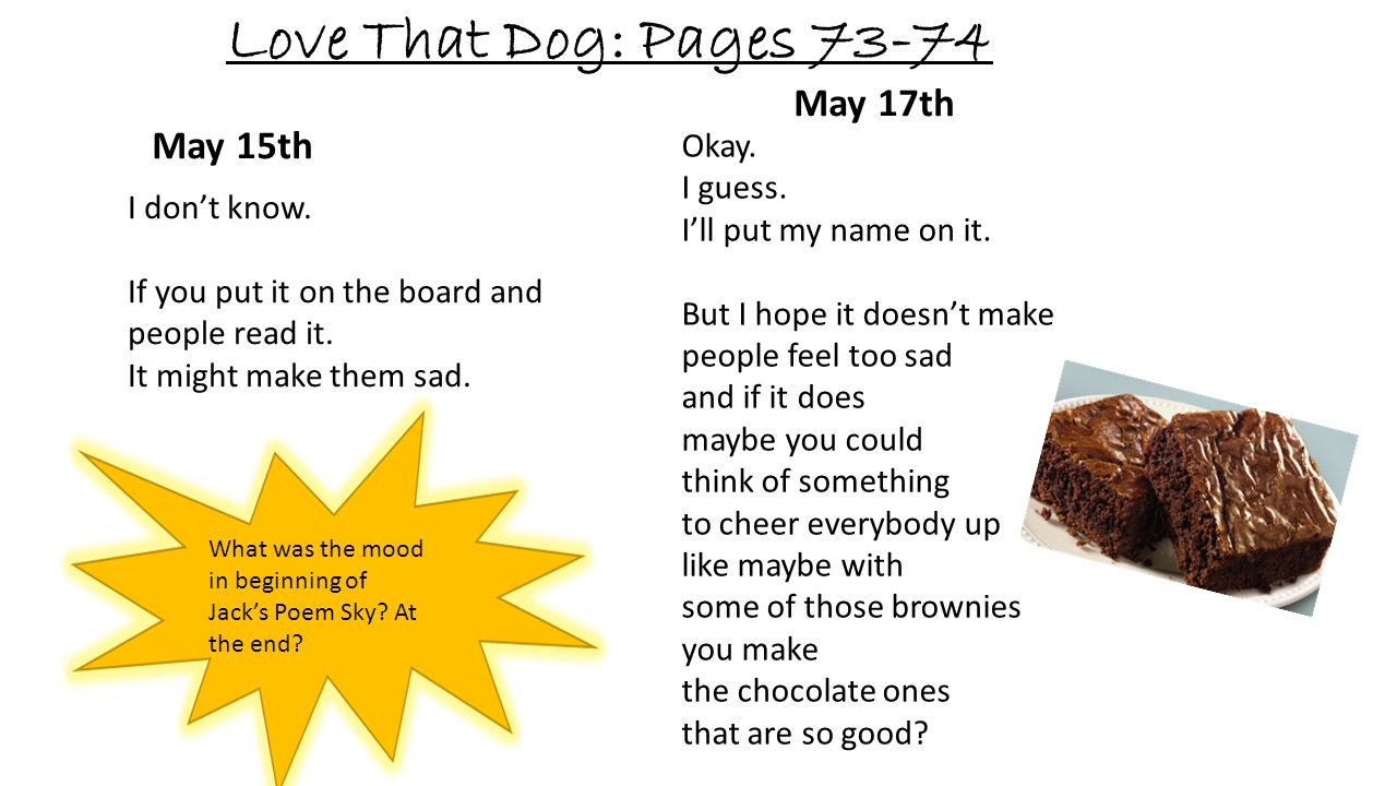Love That Dog: Pages 73-74 May 17th May 15th