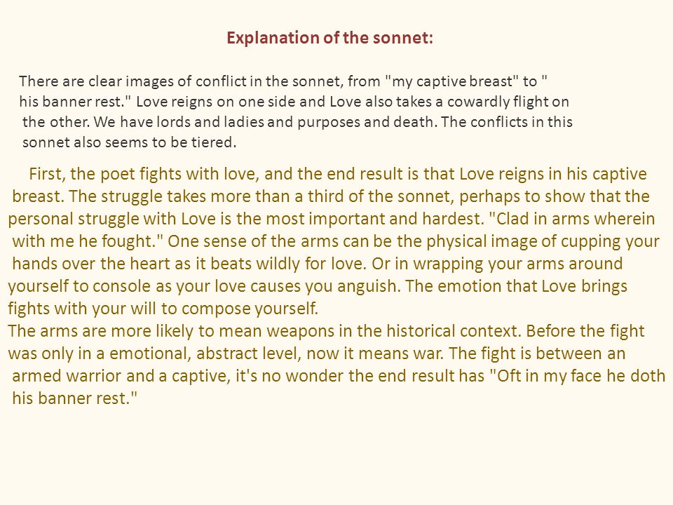 Explanation of the sonnet: