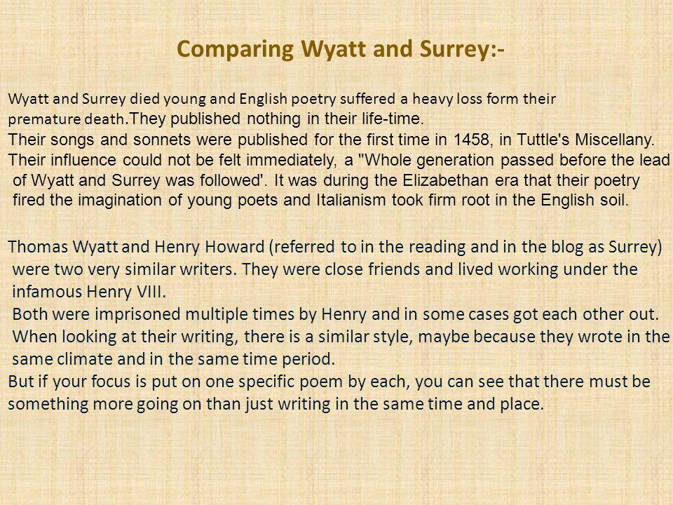 Comparing Wyatt and Surrey:-