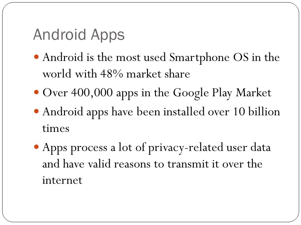 Android Apps Android is the most used Smartphone OS in the world with 48% market share. Over 400,000 apps in the Google Play Market.