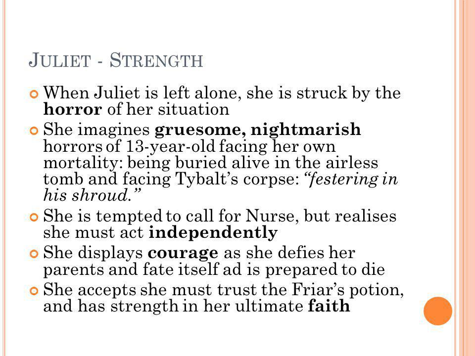 Juliet - Strength When Juliet is left alone, she is struck by the horror of her situation.
