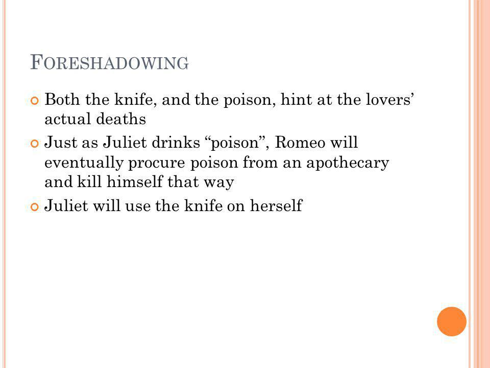 Foreshadowing Both the knife, and the poison, hint at the lovers' actual deaths.
