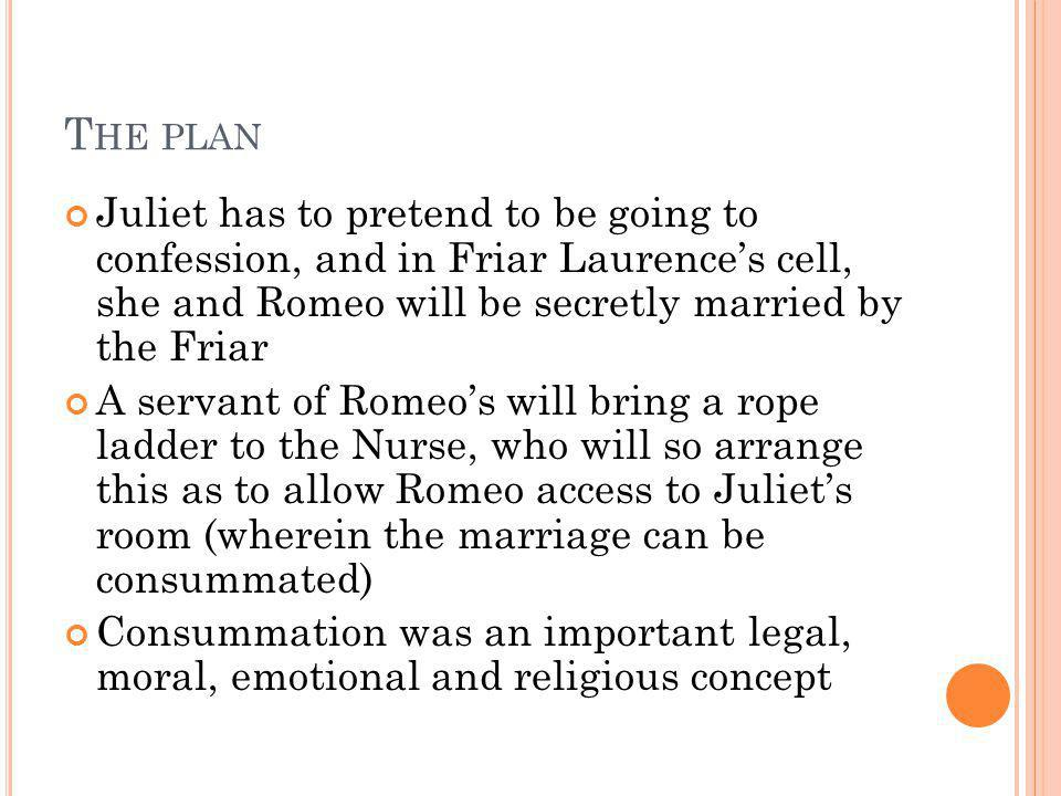 The plan Juliet has to pretend to be going to confession, and in Friar Laurence's cell, she and Romeo will be secretly married by the Friar.