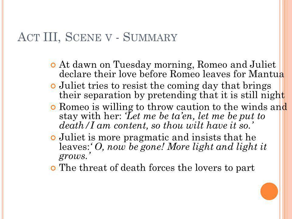 Act III, Scene v - Summary