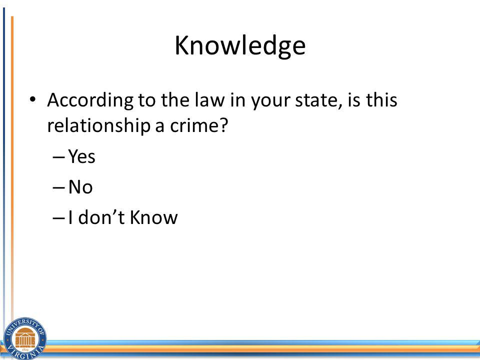 Knowledge According to the law in your state, is this relationship a crime Yes No I don't Know
