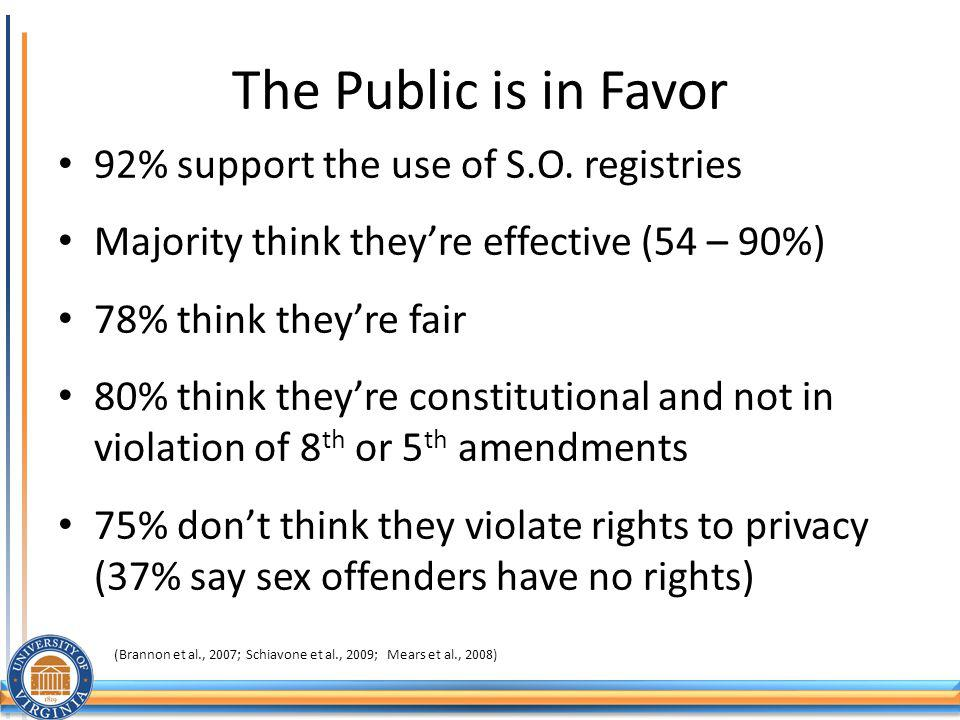 The Public is in Favor 92% support the use of S.O. registries