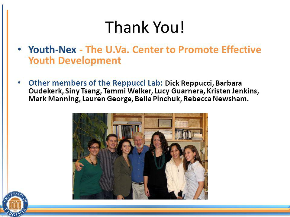 Thank You! Youth-Nex - The U.Va. Center to Promote Effective Youth Development.