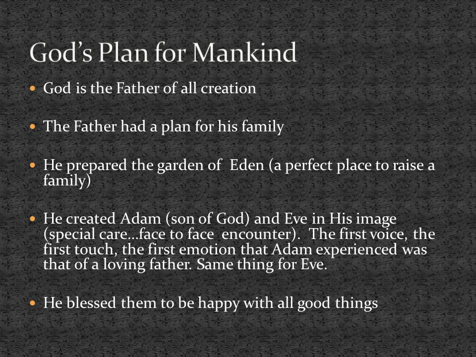 God's Plan for Mankind God is the Father of all creation