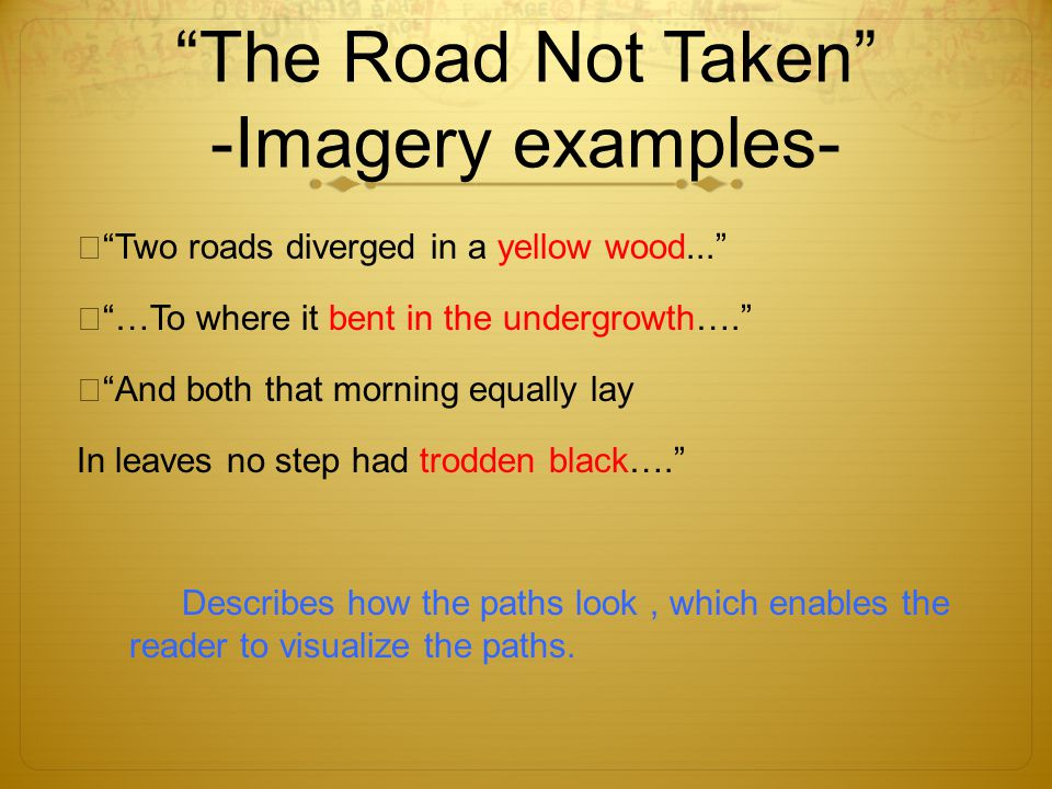 The Road Not Taken -Imagery examples-