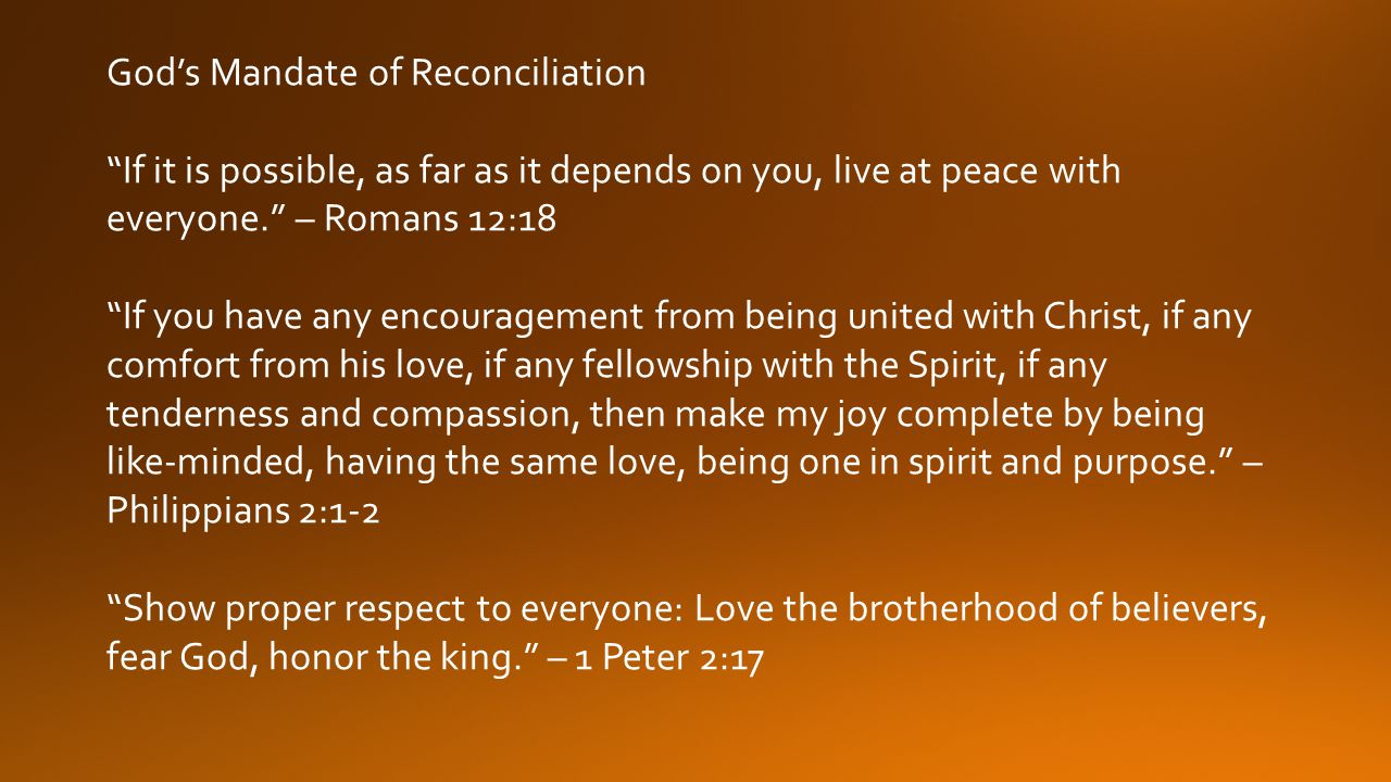 God's Mandate of Reconciliation