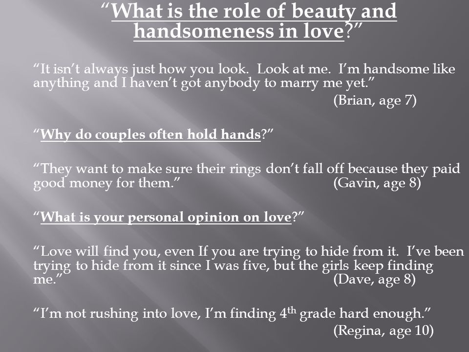 What is the role of beauty and handsomeness in love