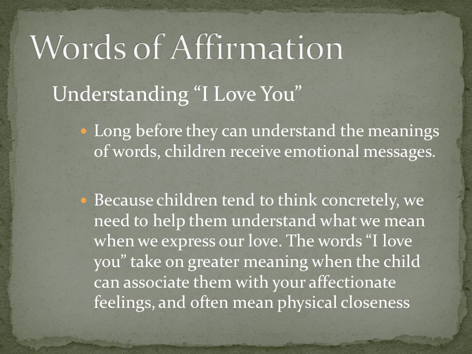 Words of Affirmation Understanding I Love You