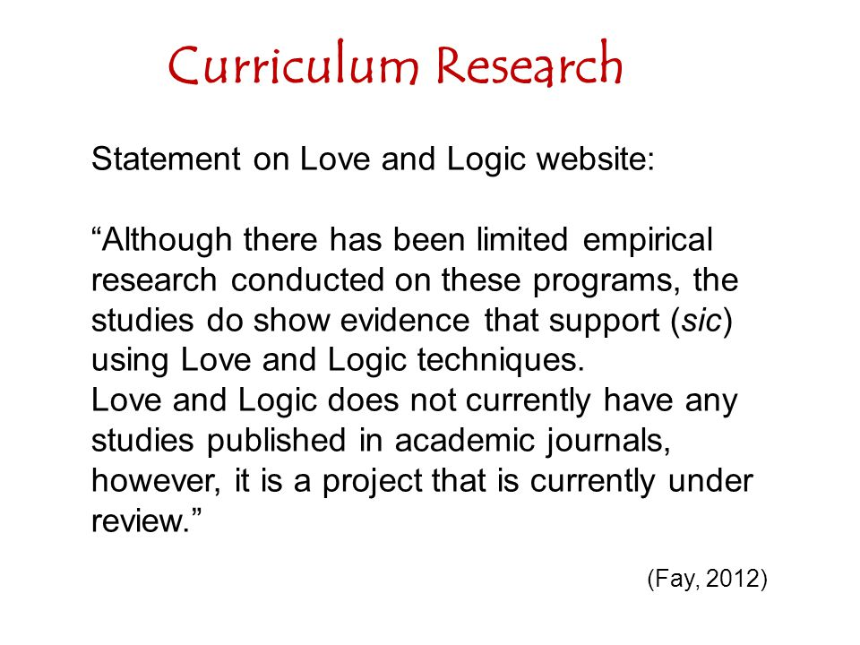 Curriculum Research Statement on Love and Logic website: