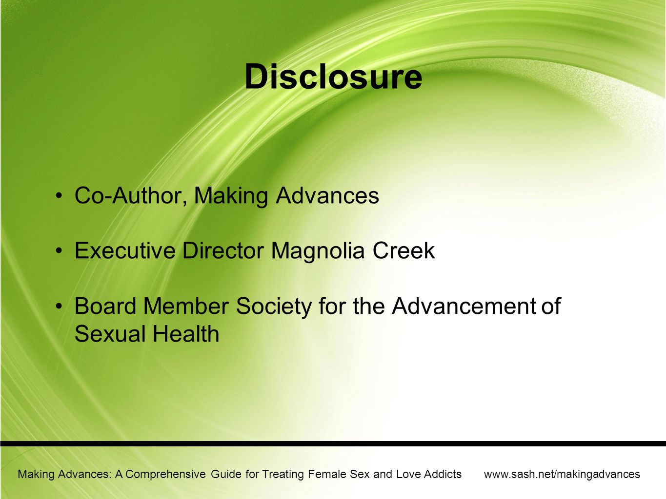 Disclosure Co-Author, Making Advances