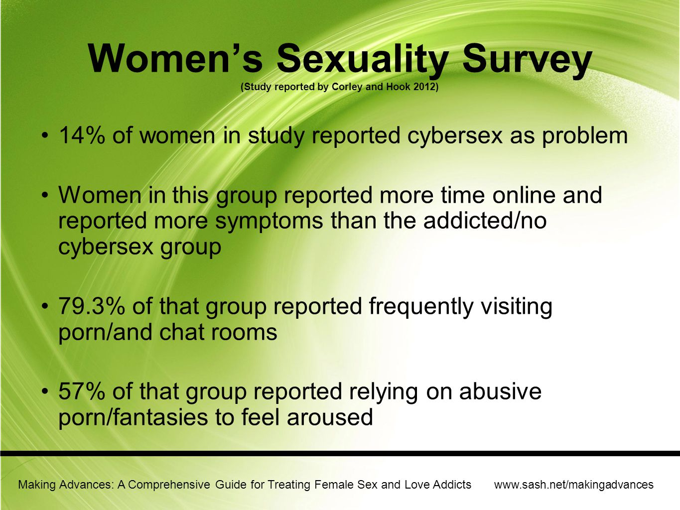 Women's Sexuality Survey (Study reported by Corley and Hook 2012)