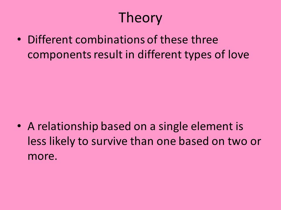 Theory Different combinations of these three components result in different types of love.