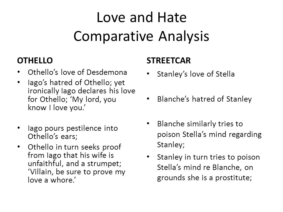 Love and Hate Comparative Analysis