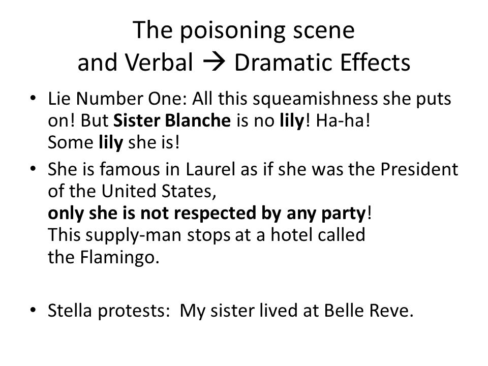 The poisoning scene and Verbal  Dramatic Effects