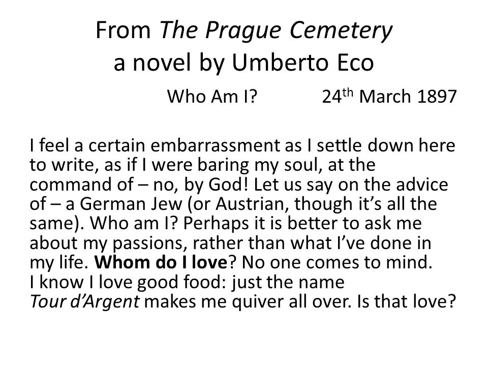 From The Prague Cemetery a novel by Umberto Eco