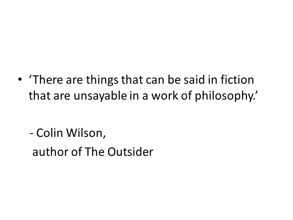 'There are things that can be said in fiction that are unsayable in a work of philosophy.'