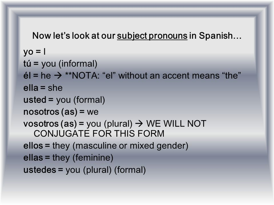 Now let's look at our subject pronouns in Spanish…