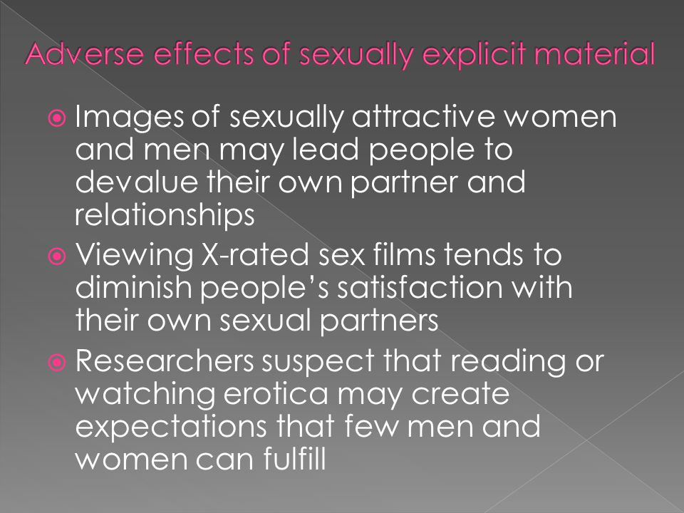 Adverse effects of sexually explicit material