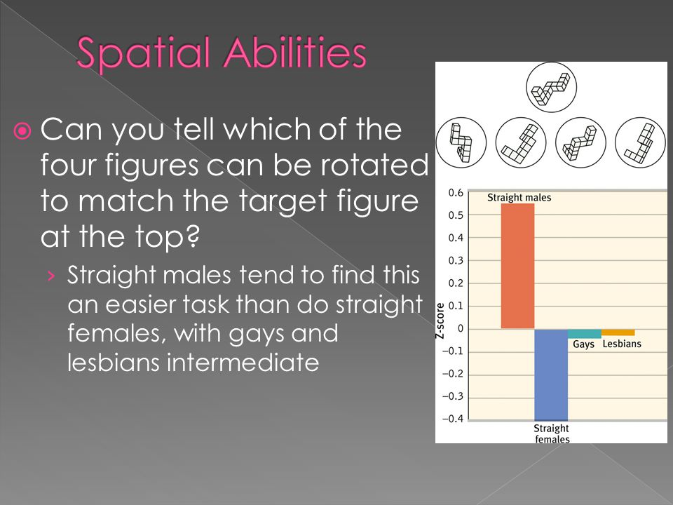 Spatial Abilities Can you tell which of the four figures can be rotated to match the target figure at the top