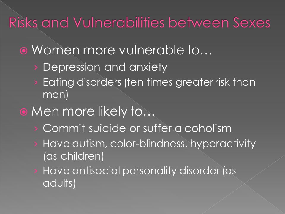 Risks and Vulnerabilities between Sexes