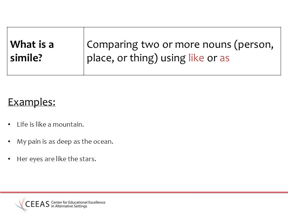 Comparing two or more nouns (person, place, or thing) using like or as