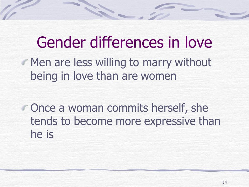 Gender differences in love