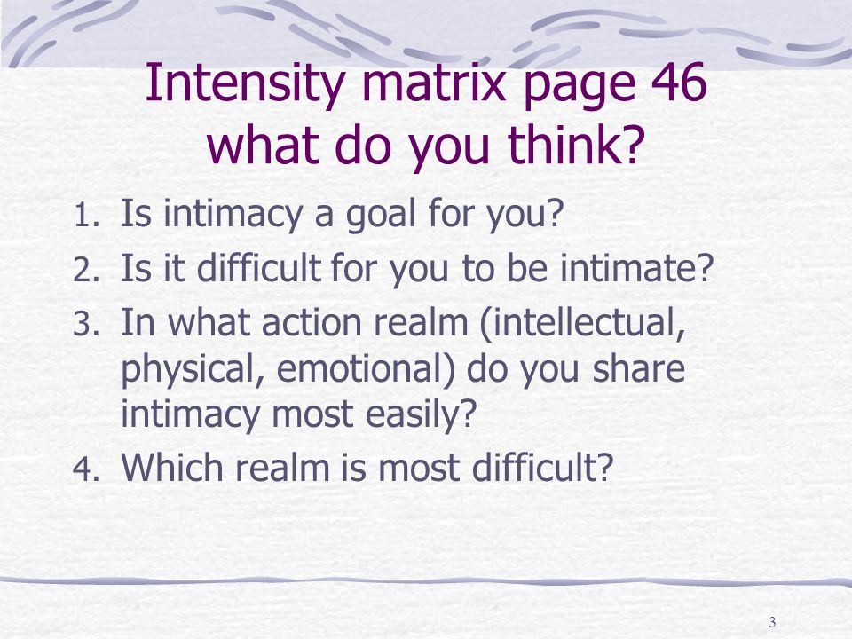 Intensity matrix page 46 what do you think