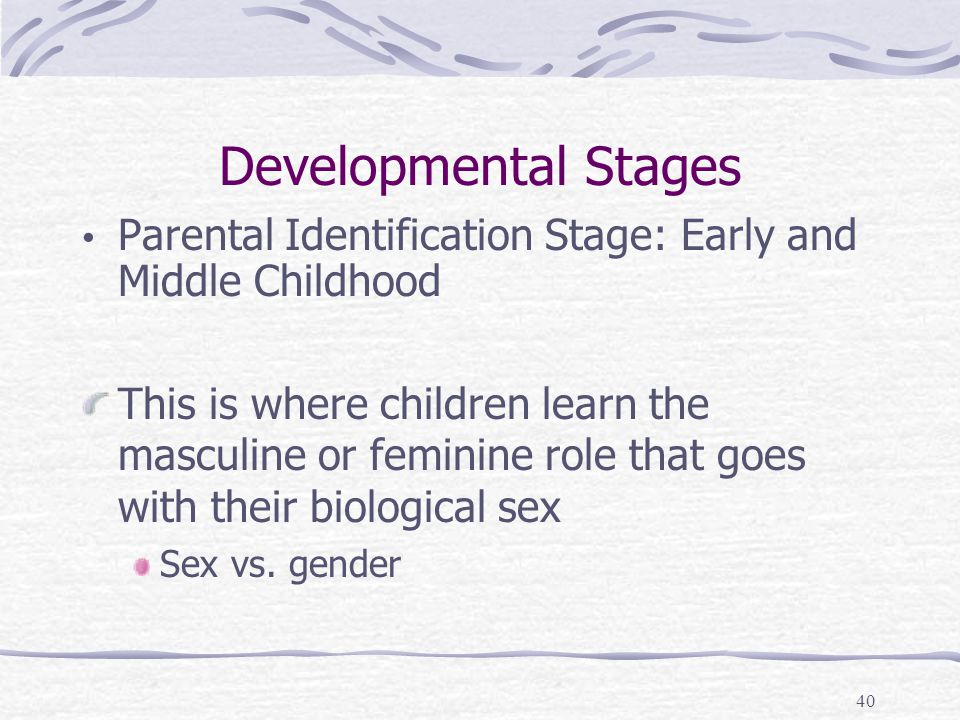 Developmental Stages Parental Identification Stage: Early and Middle Childhood.