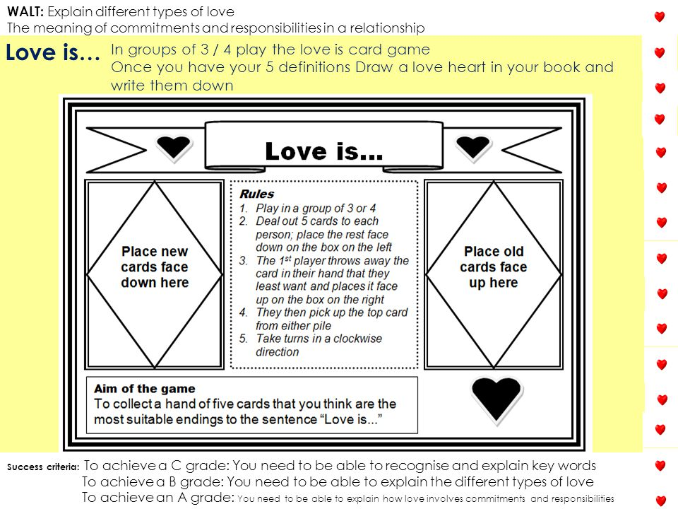 Love is… In groups of 3 / 4 play the love is card game
